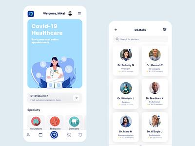 Healthcare App concept clean ui covid-19 healthcare mobile app app figma ui