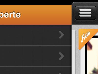 Menu ios iphone slider orange texture bello helvetica menu