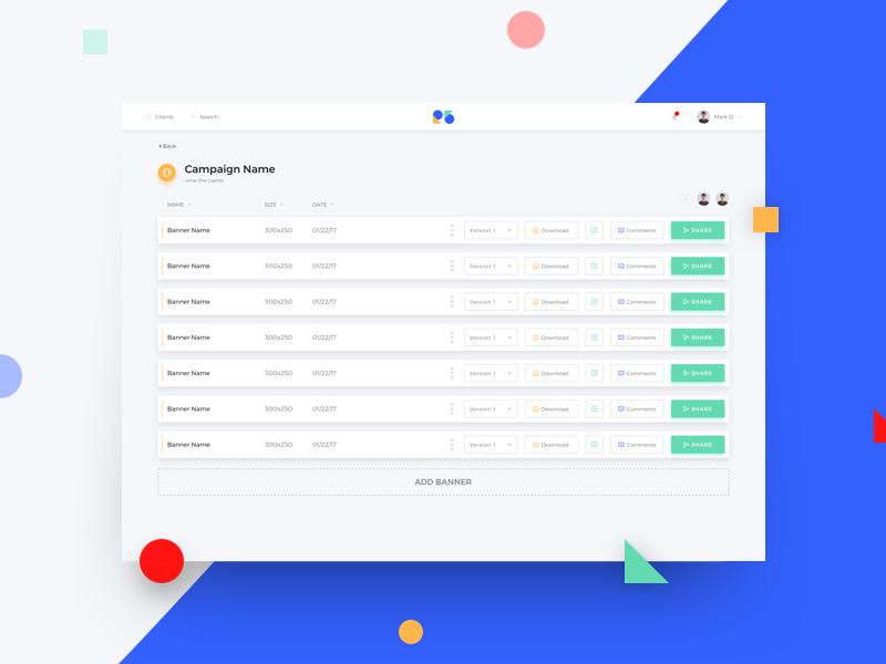 R5 Dashboard product white web list ux ui design clean blue dashboard