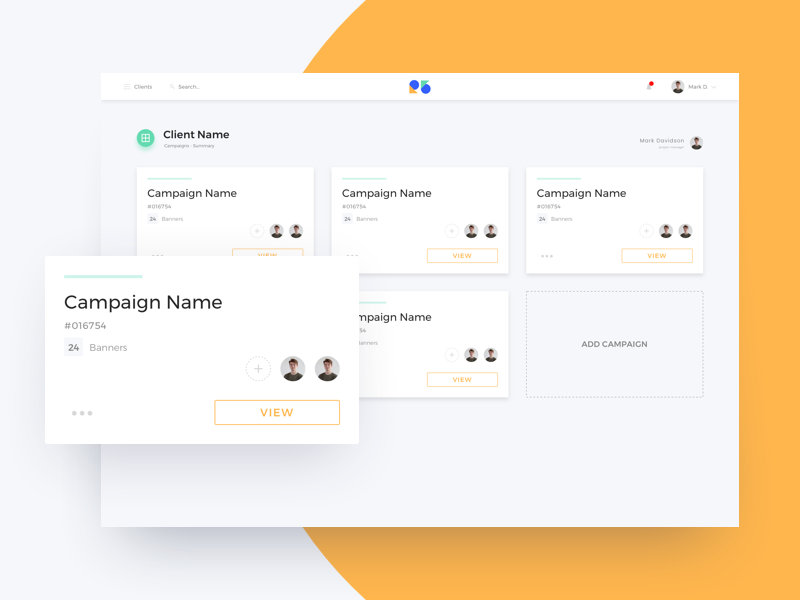 Campaign R5 ux nav card client clean product design web ui dashboard