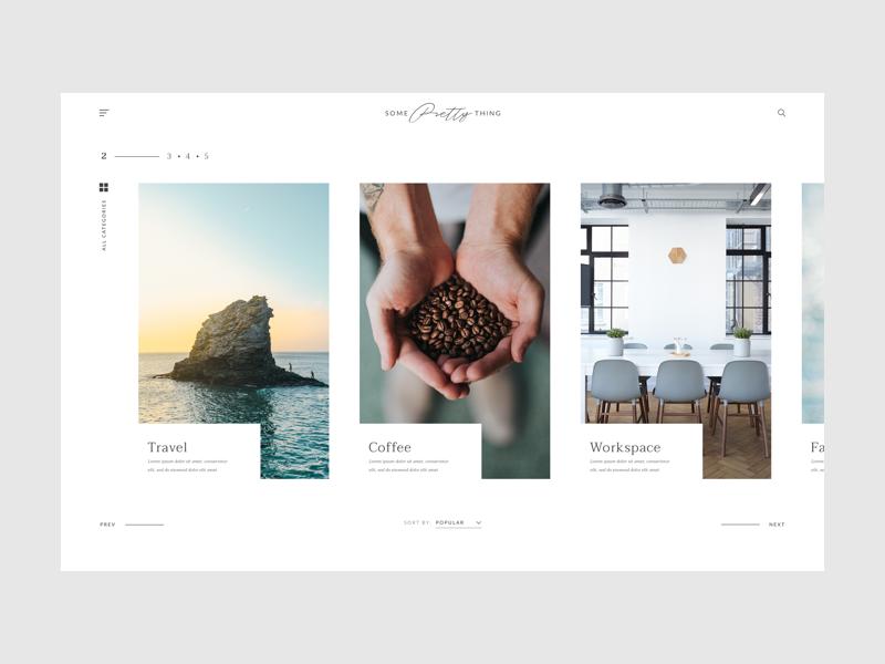 Lifestyle Blog Categories web design sort typography menu categories ux minimal clean ui blog