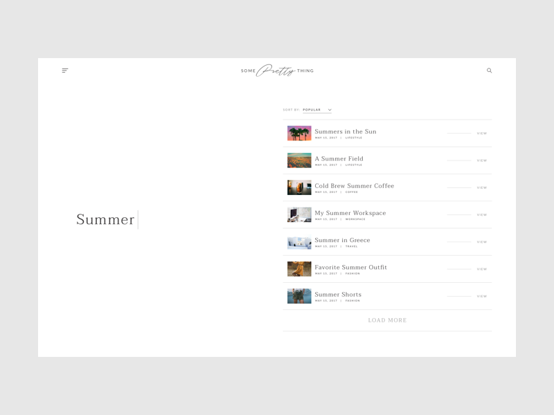 Lifestyle Blog Search search web design ux ui typography sort minimal menu clean categories blog