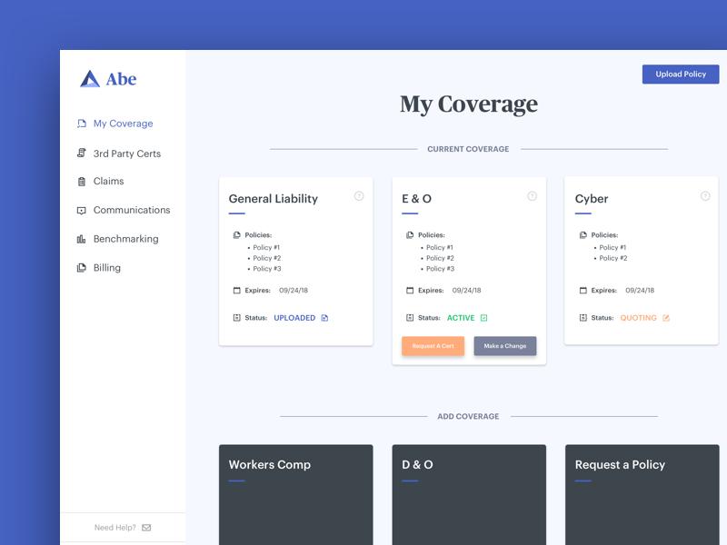 Abe Coverage Dashboard sidebar navigation clean minimal dashboard product ux ui