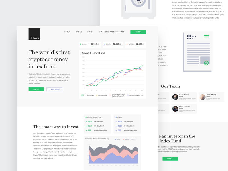 Bitwise Dribbble data chart graph marketing web design ui clean landing page cryptocurrency
