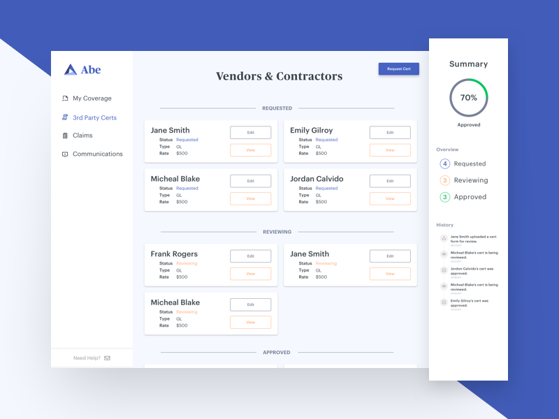 Abe Vendors & Contractors ux ui sidebar product digital product nav client clean dashboard