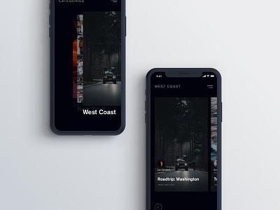 Blog Concept dark dark ui iphone minimal clean app mobile ui blog
