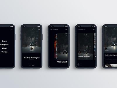 Blog Concept Cont. ui mobile minimal iphone dark ui dark clean blog app