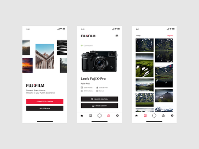 Fujifilm Concept app mobile design camera app camera product ui ux minimal clean