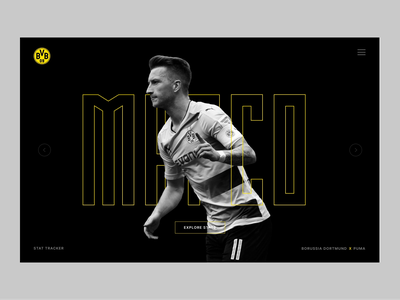 Dortmund Slider stats header motion design motion user interface dark web website sports soccer slider landing page typography design ux web design minimal ui clean