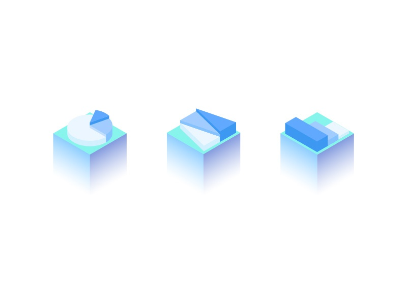 Chart Icons isometric 3d icon chart