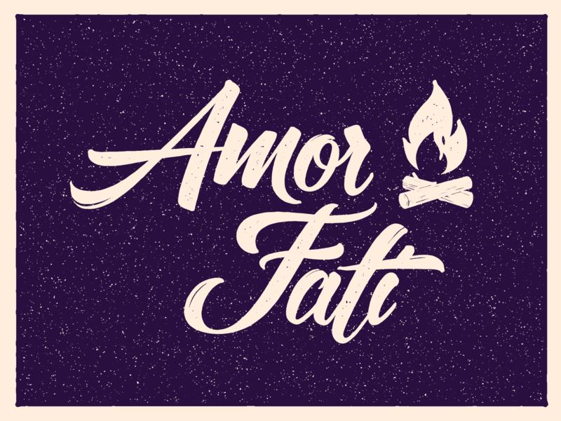 Amor Fati philosophy bonfire fire hand lettering sketch typogaphy calligraph lettering