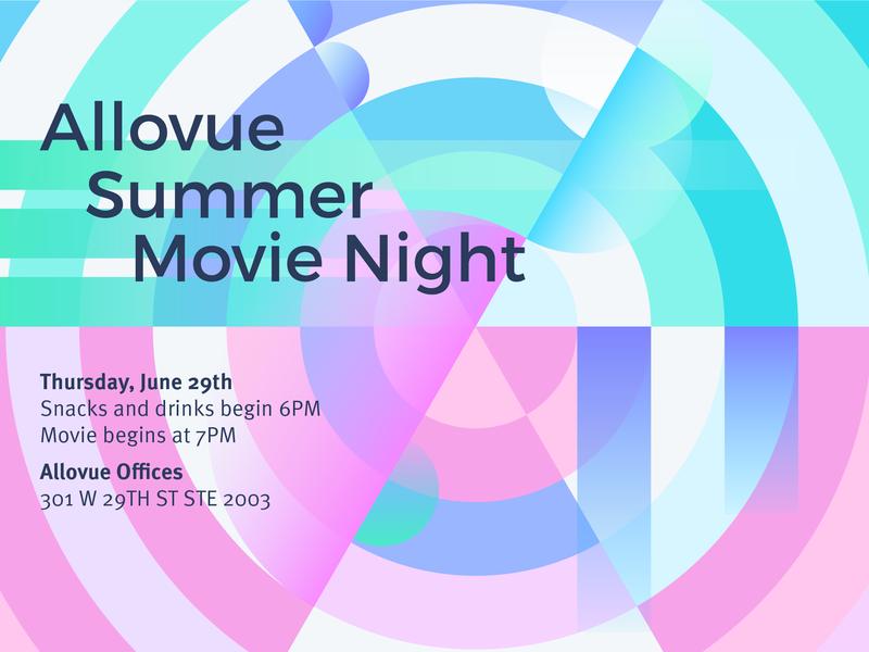 Movienight Invitation design vector gradient layout type poster