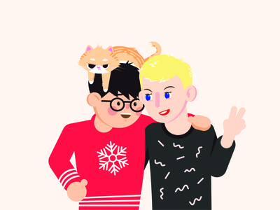 Happy holidays from the zhang gang 2d illustration cat couple portrait
