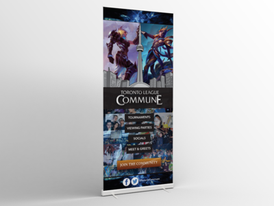 Pull Up Banner for Toronto League Commune branding marketing advertising typography illustration toronto photoshop illustrator banner