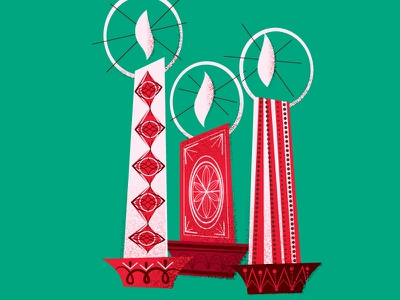 Candlelight advent vintage christmas illustration candle