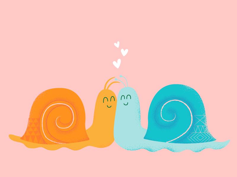 Cuddly Snails valentine pink pastel illustration bug love bugs snails cuddle