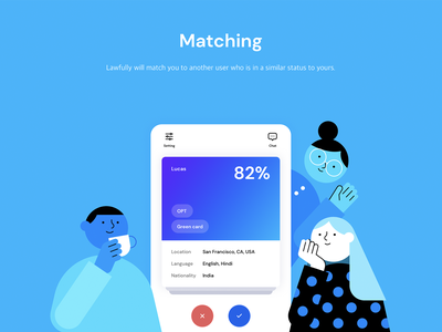 Matching product design mobile swipe card matching immigration immigrant ui illustration