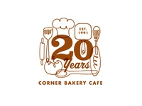 Corner Bakery Cafe 20 Year Logo logo identity cafe