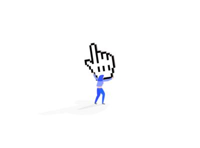 Click woman pointer uiux ux characterdesign