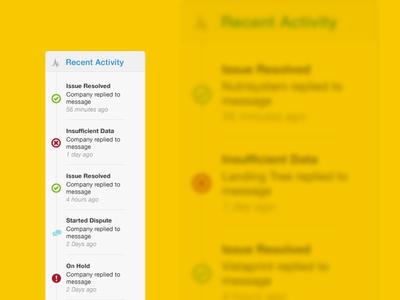 Recent activity timeline user activity log product ui time line