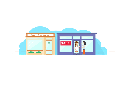 Graphic set storefront store front blog usa tulsa oklahoma web marketing illustration
