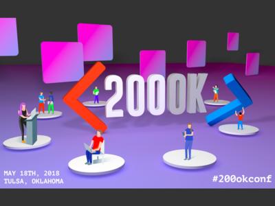 200ok Conference 2018 dev web tulsa 200ok conf conference purple render 3d graphic