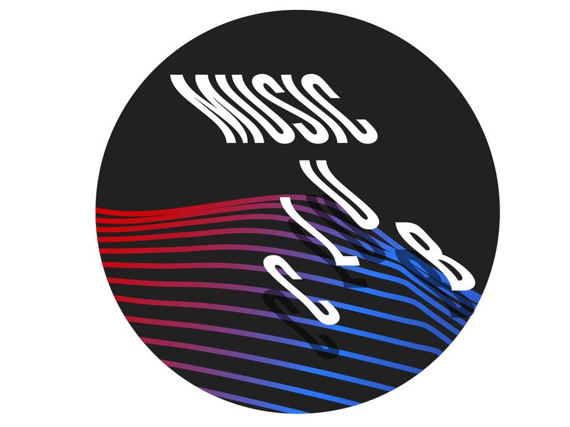 Music Club Logo Concept branding illustration tulsa vapor vaporwave lines redfish pink blue color illustartion logo