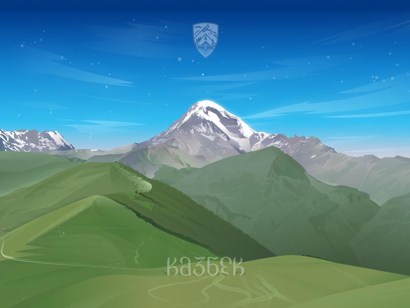 Kazbek Mountain, Georgia georgia kazbek vector mountains illustration coreldraw