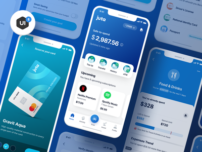 Finance Mobile App UI Kit - Juta graphic design identity goal credit card website wallet simple layout ios mobile ux ui savings budgeting app payment agency finance banking business