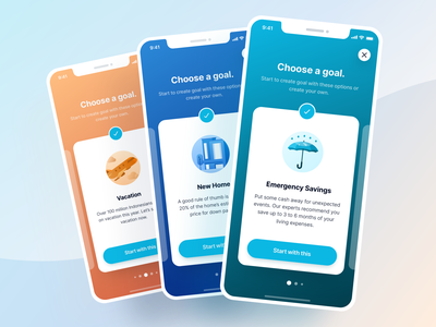 Savings Goal App - Finance App UI Kit business icon illustration credit card mobile ios simple layout website graphic design design ux ui budgeting app payment wallet banking finance goal savings