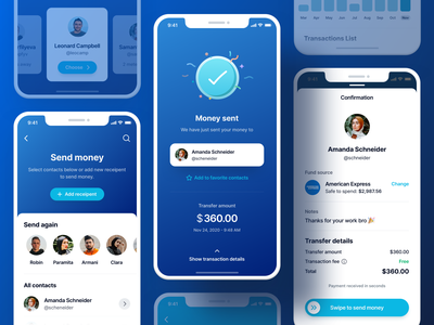 Send Money - Finance App UI Kit contacts interface web budgeting app graphic design app mobile ux ui chart confirmation success wallet business finance banking credit card payment transaction send money