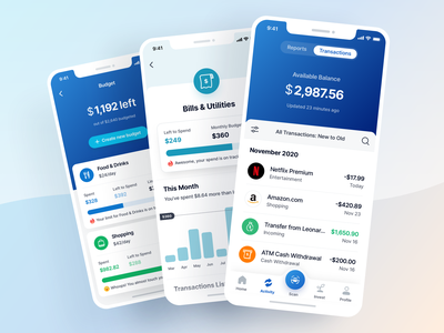 Transactions - Finance App UI Kit bar chart goal credit card savings budgeting graphic design ux ui ios app illustration icon banking finance wallet payment budget bills transaction