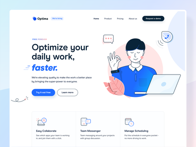 Landing Page Exploration - Hero Section ios ui design app ui kit property header landing page icon design blue minimal branding pastel color vector illustration marketing campaign marketing agency team project management web design marketing website