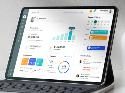 Dashboard Property Management financial landing chart ui ux transaction icon navigation calendar help desk building maintenance customer engagement ticketing system crm software real estate accounting task management project management mockup dashboard ui kpi software