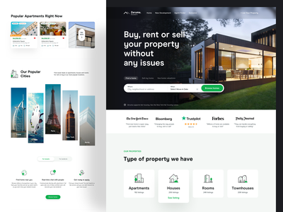 Real Estate Homepage - Zeruma responsive design real estate agent property management ui design web design sell rent buy building apartment house room features testimonials card hero header landing page property real estate