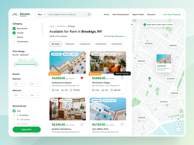Real Estate Search Result - Zeruma building management development room booking card landing page house apartment grid app design renting map view filter dashboard web design ui design home finder real estate agency property management property listing