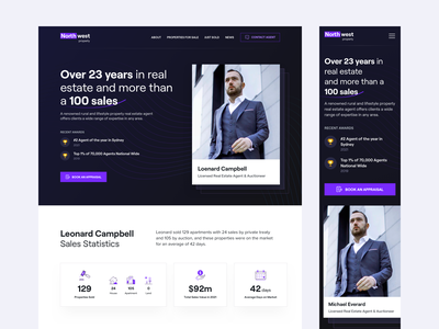 Agent Profile Page booking b2b saas website agency agent property listing real estate dashboard responsive marketing web finance minimal clean ui ux design web design landing page property
