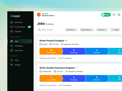 Recruiting Software - Jobs Page landing website chart management task funnel dashboard job ranking logo mobile app clean minimal application tracking hiring hr crm saas ui design