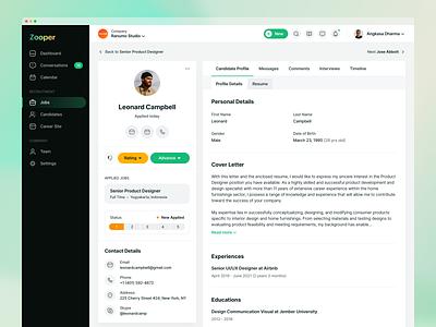 Recruiting Software - Candidate Detail Page dashboard profile management task kanban ui design clean hr crm saas software b2b landing job remote application tracking green list property