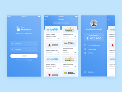 Touch Donation - Donation App minimal ux ui app android ios charity donation