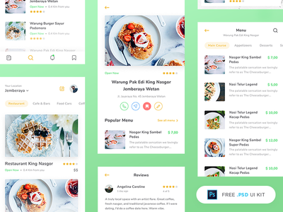 Freebie - Restaurant App UI Kit restaurant clean mobile app green cook recipe food minimal debut freebies psd