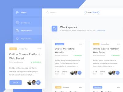 CodeCloud - Development Environment in the cloud web ui clean minimal card workspace material cloud code ide dashboard exploration