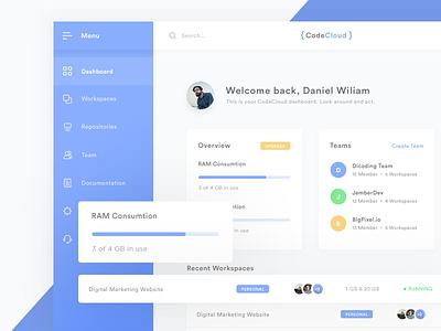 CodeCloud - Dashboard Page web ui clean minimal exploration card workspace material cloud code ide dashboard