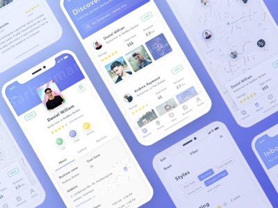 Barbara App Concept - Find The Perfect Barberman clean ui design ux design mobile app ios barber discover minimal nearby chat inbox profile