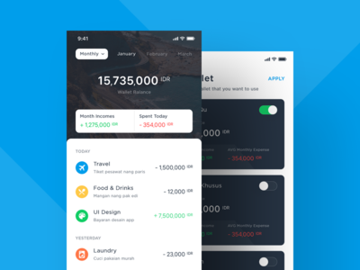 #001 - Wallet App Exploration transfer transaction payment android ios minimal clean ui design bank finance budget wallet