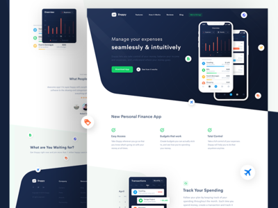 Wallet App Landing Page clean landing page android ios chart dashboard web payment finance budget wallet banking