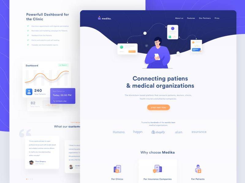 Medika - Landing Page Exploration dashboard medical platform landing page company pharmacy patient medical illustration web minimal clean