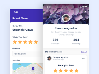Rating & Review App restaurant ui chart minimal profile rate rating reviews app design dashboard clean
