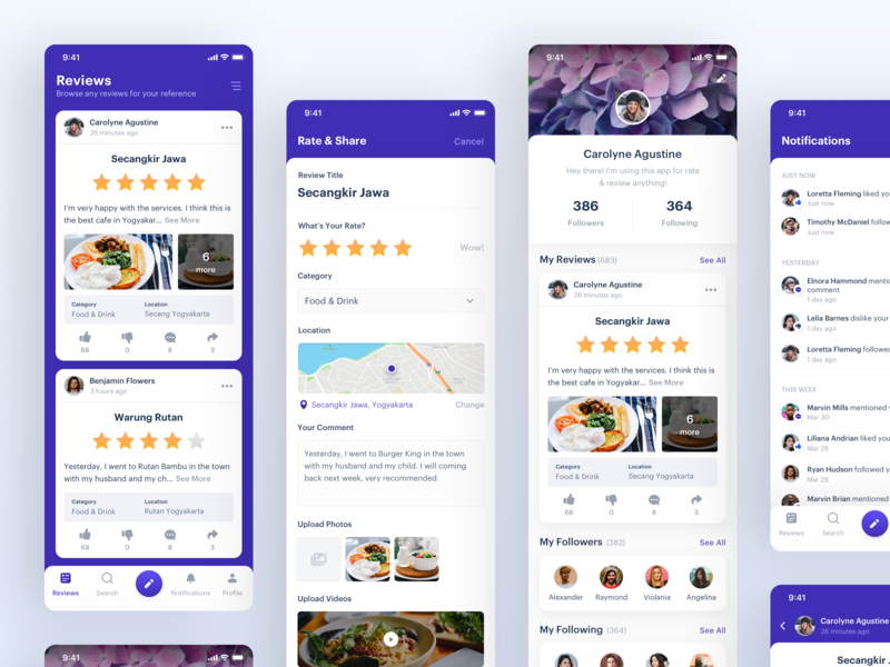 Rating & Review App mobile app clean rating review finance minimal dashboard maps real estate restaurant payment education bank