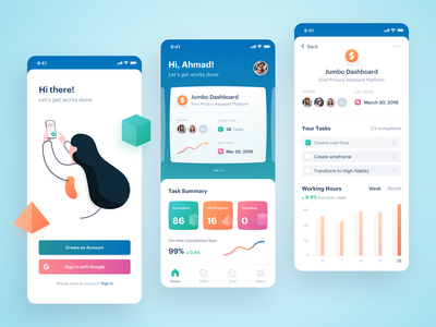 Project Management App icon splash screen team chart illustration onboarding ui design minimal clean platform tool management task project dashboard finance real estate ios mobile app android